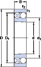 60 mm x 110 mm x 22 mm  SKF 1212 EKTN9 self aligning ball bearings