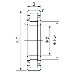 90 mm x 190 mm x 43 mm  NACHI NUP 318 cylindrical roller bearings