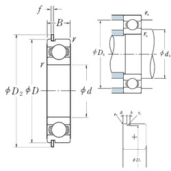 90 mm x 190 mm x 43 mm  NSK 6318NR deep groove ball bearings