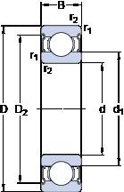 60 mm x 110 mm x 22 mm  SKF 6212-2Z deep groove ball bearings