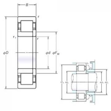90 mm x 190 mm x 43 mm  NSK NUP318EM cylindrical roller bearings