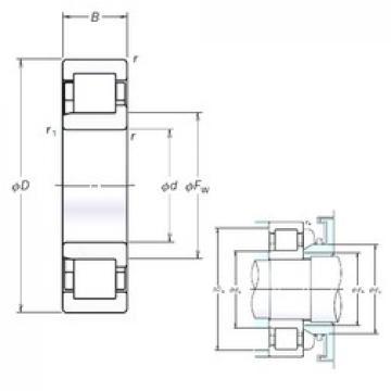 190 mm x 400 mm x 132 mm  NSK NJ2338EM cylindrical roller bearings