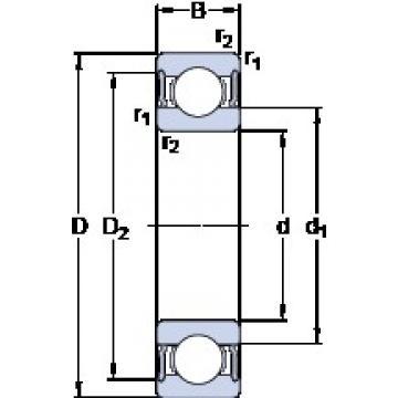 60 mm x 110 mm x 22 mm  SKF 6212-2RS1/HC5C3WT deep groove ball bearings