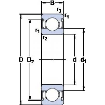 60 mm x 110 mm x 22 mm  SKF 6212-2Z/VA201 deep groove ball bearings