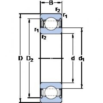 60 mm x 110 mm x 22 mm  SKF 6212-2Z/VA208 deep groove ball bearings