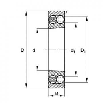 110 mm x 240 mm x 50 mm  FAG 1322-K-M-C3 self aligning ball bearings
